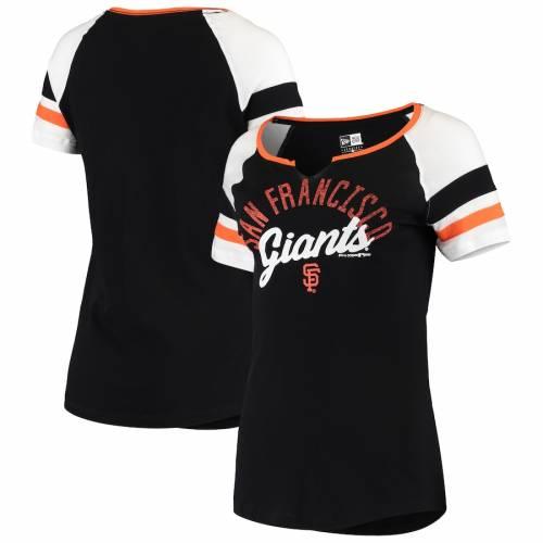 ニューエラ NEW ERA ジャイアンツ レディース スリーブ Tシャツ 黒 ブラック レディースファッション トップス カットソー 【 San Francisco Giants Womens Striped Sleeve V-notch T-shirt - Black 】 Black