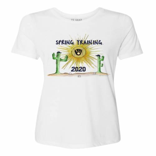TINY TURNIP ミルウォーキー ブルワーズ レディース スプリング トレーニング Tシャツ 白 ホワイト レディースファッション トップス カットソー 【 Milwaukee Brewers Womens 2020 Spring Training T-shir