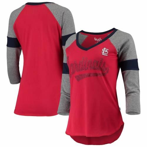 TOUCH カーディナルス レディース ラグラン ブイネック Tシャツ St. レディースファッション トップス カットソー 【 St. Louis Cardinals Womens Fan For Life Raglan V-neck 3/4-sleeve T-shirt - Red/gray 】 Red/g