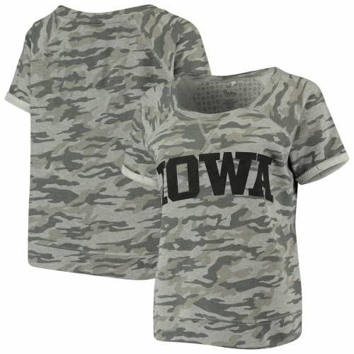 PRESSBOX レディース Tシャツ レディースファッション トップス カットソー 【 Iowa Hawkeyes Womens Splash French Terry T-shirt - Camo 】 Camo