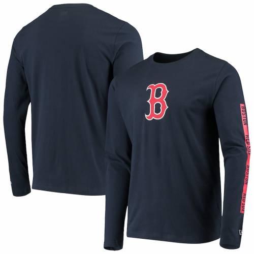 ニューエラ NEW ERA ボストン 赤 レッド スリーブ Tシャツ 紺 ネイビー 【 RED SLEEVE NAVY NEW ERA BOSTON SOX LONG TSHIRT 】 メンズファッション トップス Tシャツ カットソー