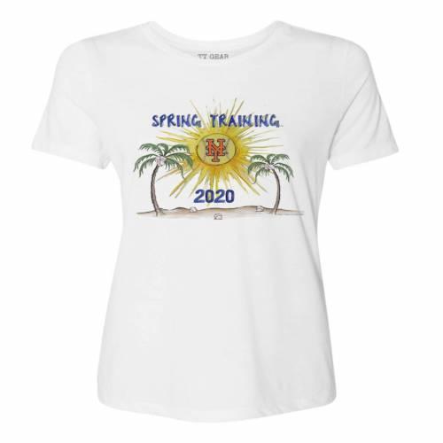 TINY TURNIP メッツ レディース スプリング トレーニング Tシャツ 白 ホワイト レディースファッション トップス カットソー 【 New York Mets Womens 2020 Spring Training T-shirt - White 】 White
