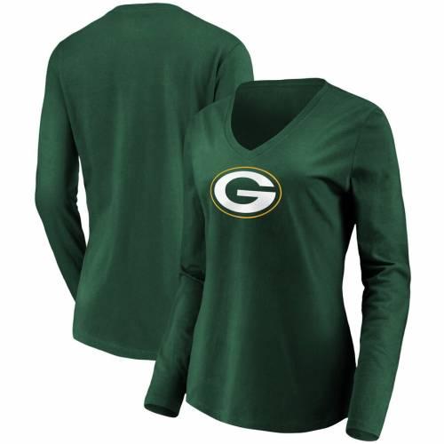 NFL PRO LINE BY FANATICS BRANDED 緑 グリーン パッカーズ レディース ロゴ スリーブ ブイネック Tシャツ レディースファッション トップス カットソー 【 Green Bay Packers Womens Primary Logo Long Sleeve V-