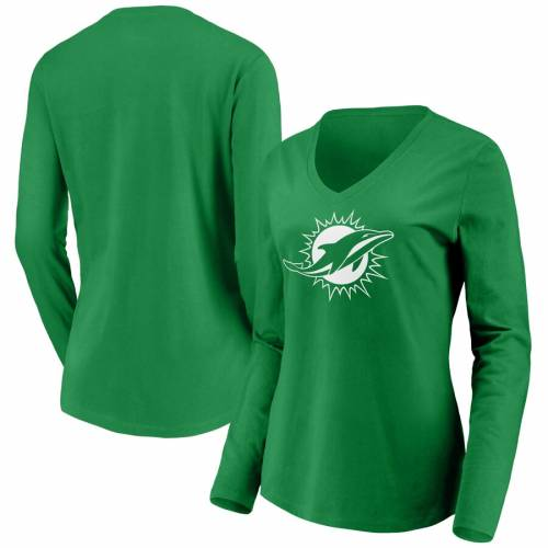 NFL PRO LINE BY FANATICS BRANDED マイアミ ドルフィンズ レディース 白 ホワイト ロゴ スリーブ ブイネック Tシャツ 緑 グリーン St. レディースファッション トップス カットソー 【 Miami Dolphins