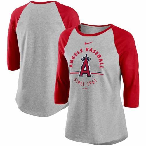 ナイキ NIKE エンジェルス レディース ラグラン Tシャツ レディースファッション トップス カットソー 【 Los Angeles Angels Womens Encircled Tri-blend 3/4-sleeve Raglan T-shirt - Gray/red 】 Gray/red