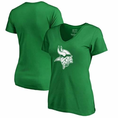 NFL PRO LINE BY FANATICS BRANDED ミネソタ バイキングス レディース 白 ホワイト ロゴ ブイネック Tシャツ 緑 グリーン St. レディースファッション トップス カットソー 【 Minnesota Vikings Womens St.