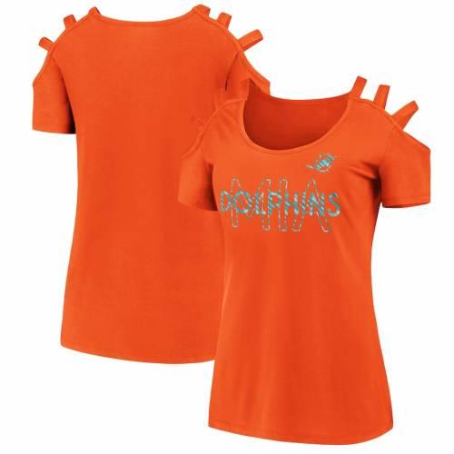 新しい到着 ファナティクス FANATICS BRANDED マイアミ ドルフィンズ レディース ストラップ Tシャツ 橙 オレンジ WOMEN&39;S 【 ORANGE FANATICS BRANDED FOIL OPEN SHOULDER STRAP TSHIRT 】 レディースファッション トップス, ATiC dce4e531