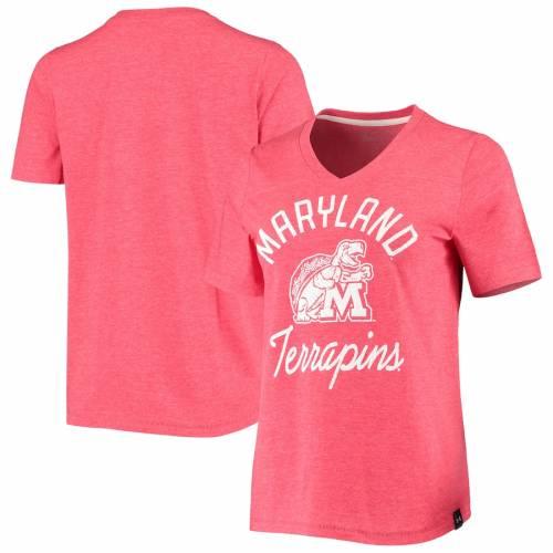 アンダーアーマー UNDER ARMOUR メリーランド レディース ブイネック Tシャツ 赤 レッド レディースファッション トップス カットソー 【 Maryland Terrapins Womens V-neck T-shirt - Heathered Red 】 Heathe