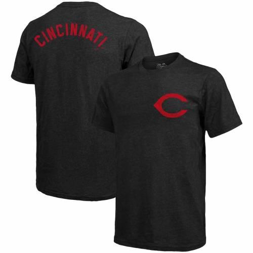 MAJESTIC THREADS シンシナティ レッズ ロゴ Tシャツ 黒 ブラック メンズファッション トップス カットソー メンズ 【 Cincinnati Reds Throwback Logo Tri-blend T-shirt - Black 】 Black