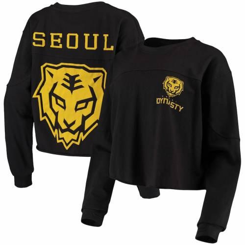 G-III 4HER BY CARL BANKS レディース スリーブ Tシャツ 黒 ブラック レディースファッション トップス カットソー 【 Seoul Dynasty Womens Spirit Long Sleeve T-shirt - Black 】 Black