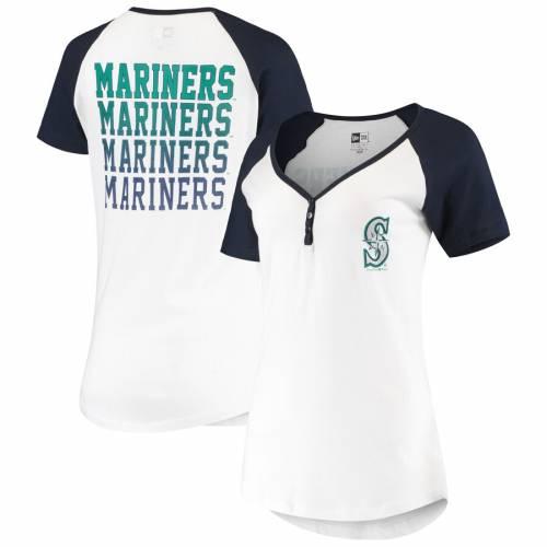 ニューエラ NEW ERA シアトル マリナーズ レディース ヘンリー Tシャツ 白 ホワイト レディースファッション トップス カットソー 【 Seattle Mariners Womens Henley T-shirt - White 】 White