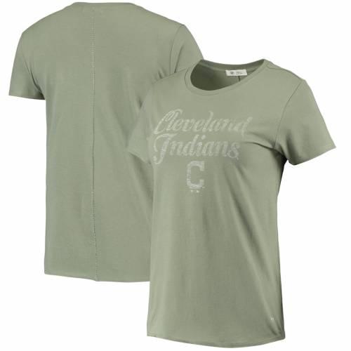 '47 クリーブランド インディアンズ レディース Tシャツ オリーブ レディースファッション トップス カットソー 【 Cleveland Indians Womens Whitney Letter T-shirt - Olive 】 Olive