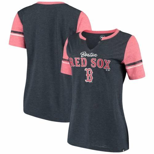 '47 ボストン 赤 レッド レディース マッチ Tシャツ 紺 ネイビー レディースファッション トップス カットソー 【 Boston Red Sox Womens Match Tri-blend Notch Neck T-shirt - Navy 】 Navy