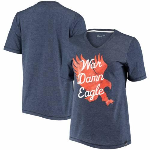 アンダーアーマー UNDER ARMOUR タイガース レディース ブイネック Tシャツ 紺 ネイビー レディースファッション トップス カットソー 【 Auburn Tigers Womens V-neck T-shirt - Heathered Navy 】 Heathered