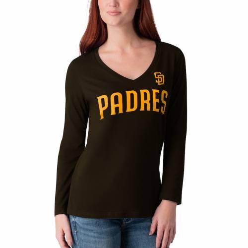 G-III 4HER BY CARL BANKS パドレス レディース スリーブ Tシャツ 紺 ネイビー レディースファッション トップス カットソー 【 San Diego Padres Womens Post Season Long Sleeve T-shirt - Navy 】 Navy