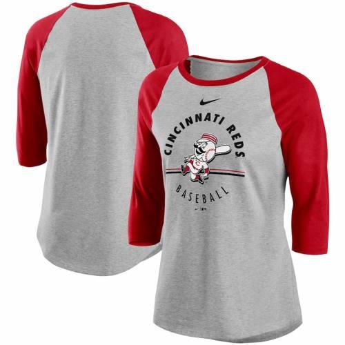 ナイキ NIKE シンシナティ レッズ レディース ラグラン Tシャツ レディースファッション トップス カットソー 【 Cincinnati Reds Womens Encircled Tri-blend 3/4-sleeve Raglan T-shirt - Gray/red 】 Gray/red