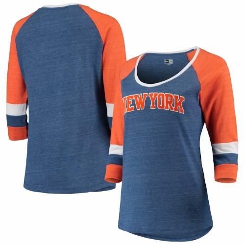 ニューエラ NEW ERA ニックス レディース ジャージ Tシャツ 青 ブルー レディースファッション トップス カットソー 【 New York Knicks Womens Tri-blend Jersey 3/4-sleeve T-shirt - Blue 】 Blue