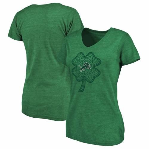NFL PRO LINE BY FANATICS BRANDED デトロイト ライオンズ レディース ブイネック Tシャツ 緑 グリーン St. レディースファッション トップス カットソー 【 Detroit Lions Womens St. Patricks Day Celtic Charm T