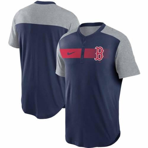 ナイキ NIKE ボストン 赤 レッド パフォーマンス ヘンリー Tシャツ 紺 ネイビー メンズファッション トップス カットソー メンズ 【 Boston Red Sox Fade Performance Tri-blend Henley T-shirt - Navy 】 Navy