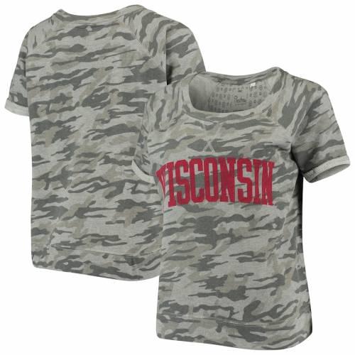 PRESSBOX ウィスコンシン レディース Tシャツ レディースファッション トップス カットソー 【 Wisconsin Badgers Womens Splash French Terry T-shirt - Camo 】 Camo