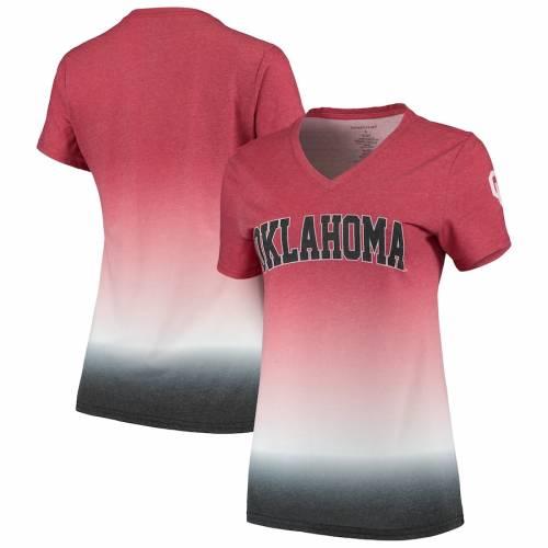 BOXERCRAFT レディース ブイネック Tシャツ レディースファッション トップス カットソー 【 Oklahoma Sooners Womens Ombre V-neck T-shirt - Crimson 】 Crimson