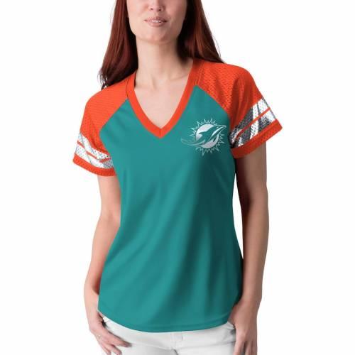 G-III 4HER BY CARL BANKS マイアミ ドルフィンズ レディース フランチャイズ ラグラン Tシャツ アクア レディースファッション トップス カットソー 【 Miami Dolphins Womens Franchise Raglan T-shirt - Aqu