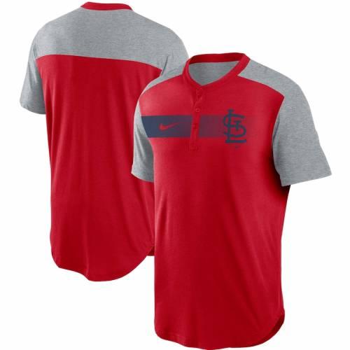 ナイキ NIKE カーディナルス パフォーマンス ヘンリー Tシャツ 赤 レッド St. メンズファッション トップス カットソー メンズ 【 St. Louis Cardinals Fade Performance Tri-blend Henley T-shirt - Red 】 Red