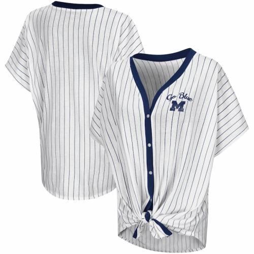 COLOSSEUM ミシガン レディース Tシャツ 白 ホワイト レディースファッション トップス カットソー 【 Michigan Wolverines Womens Playground Pinstripe Oversized Button-up T-shirt - White 】 White