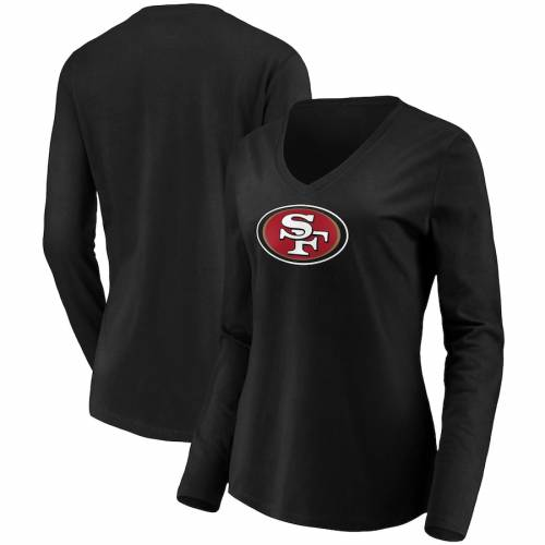 NFL PRO LINE BY FANATICS BRANDED フォーティーナイナーズ レディース ロゴ スリーブ ブイネック Tシャツ 黒 ブラック レディースファッション トップス カットソー 【 San Francisco 49ers Womens Primary