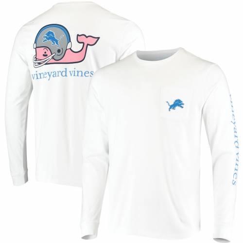 VINEYARD VINES デトロイト ライオンズ ヘルメット スリーブ Tシャツ 白 ホワイト メンズファッション トップス カットソー メンズ 【 Detroit Lions Whale Helmet Long Sleeve T-shirt - White 】 White