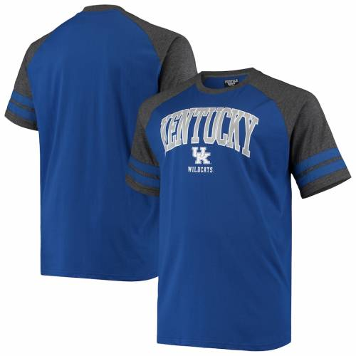 PROFILE VARSITY ケンタッキー ラグラン Tシャツ チャコール メンズファッション トップス カットソー メンズ 【 Kentucky Wildcats Big And Tall Raglan T-shirt - Royal/heathered Charcoal 】 Royal/heathered Charcoal