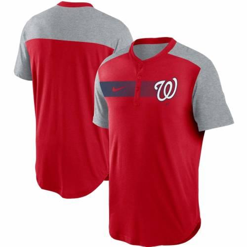 ナイキ NIKE ワシントン ナショナルズ パフォーマンス ヘンリー Tシャツ 赤 レッド メンズファッション トップス カットソー メンズ 【 Washington Nationals Fade Performance Tri-blend Henley T-shirt - Re