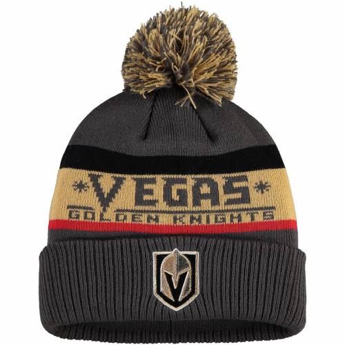 アディダス ADIDAS ニット チャコール バッグ キャップ 帽子 メンズキャップ メンズ 【 Vegas Golden Knights Culture Head Name Cuffed Knit Hat With Pom - Charcoal 】 Charcoal