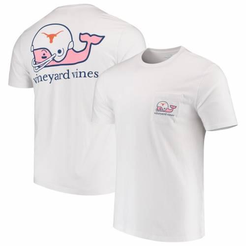 VINEYARD VINES テキサス ヘルメット Tシャツ 白 ホワイト メンズファッション トップス カットソー メンズ 【 Texas Longhorns Football Helmet Pocket T-shirt - White 】 White