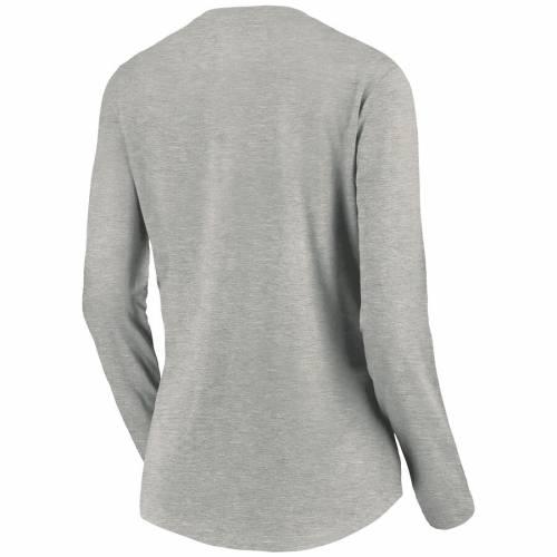 NFL PRO LINE BY FANATICS BRANDED ジェッツ レディース ロゴ スリーブ Tシャツ ヘザー 灰色 グレー グレイ レディースファッション トップス カットソー 【 New York Jets Womens Primary Logo Plus Size Long Sl