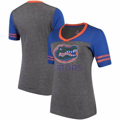 COLOSSEUM フロリダ レディース ブイネック ジャージ Tシャツ レディースファッション トップス カットソー 【 Florida Gators Womens Mctwist V-neck Jersey T-shirt - Royal/gray 】 Royal/gray
