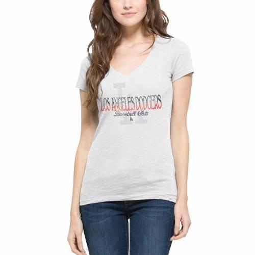 '47 ドジャース レディース ブイネック Tシャツ 白 ホワイト レディースファッション トップス カットソー 【 Los Angeles Dodgers Womens Stars And Stripes Scrum V-neck T-shirt - White 】 White