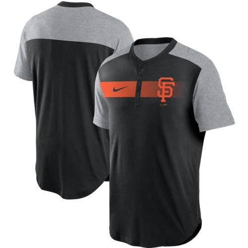 ナイキ NIKE ジャイアンツ パフォーマンス ヘンリー Tシャツ 黒 ブラック メンズファッション トップス カットソー メンズ 【 San Francisco Giants Fade Performance Tri-blend Henley T-shirt - Black 】 Black