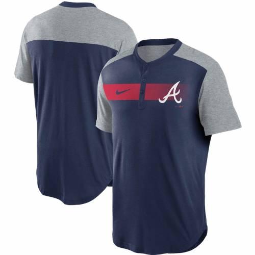 ナイキ NIKE アトランタ ブレーブス パフォーマンス ヘンリー Tシャツ 紺 ネイビー メンズファッション トップス カットソー メンズ 【 Atlanta Braves Fade Performance Tri-blend Henley T-shirt - Navy 】