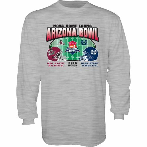 STEP AHEAD SPORTSWEAR スケートボード ユタ アリゾナ スリーブ Tシャツ 灰色 グレー グレイ VS. 【 STATE SLEEVE GRAY STEP AHEAD SPORTSWEAR NEW MEXICO AGGIES UTAH 2017 ARIZONA BOWL DUELING LONG TSHIRT 】 メンズファッ