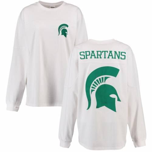 PRESSBOX ミシガン スケートボード レディース スリーブ Tシャツ 白 ホワイト レディースファッション トップス カットソー 【 Michigan State Spartans Womens The Big Shirt Oversized Long Sleeve T-shirt - Whi