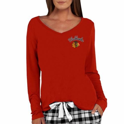 CONCEPTS SPORT シカゴ レディース ニット スリーブ ブイネック Tシャツ 赤 レッド レディースファッション トップス カットソー 【 Chicago Blackhawks Womens Marathon Knit Long Sleeve V-neck T-shirt - Red 】