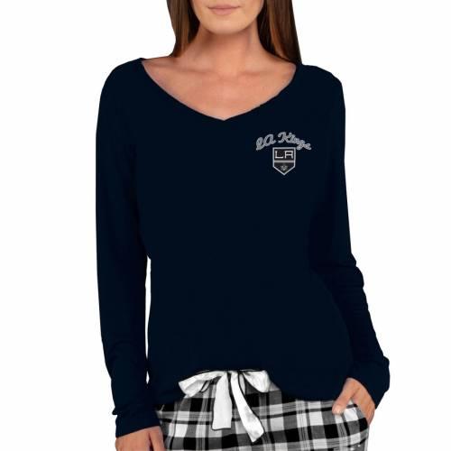 CONCEPTS SPORT キングス レディース ニット スリーブ ブイネック Tシャツ 黒 ブラック レディースファッション トップス カットソー 【 Los Angeles Kings Womens Marathon Knit Long Sleeve V-neck T-shirt - Bl