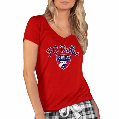 CONCEPTS SPORT ダラス レディース ブイネック Tシャツ 赤 レッド レディースファッション トップス カットソー 【 Fc Dallas Womens Marathon V-neck T-shirt - Red 】 Red