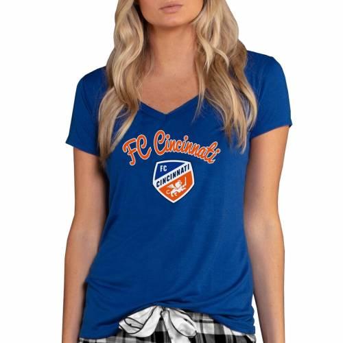 CONCEPTS SPORT シンシナティ レディース ブイネック Tシャツ 青 ブルー レディースファッション トップス カットソー 【 Fc Cincinnati Womens Marathon V-neck T-shirt - Blue 】 Blue