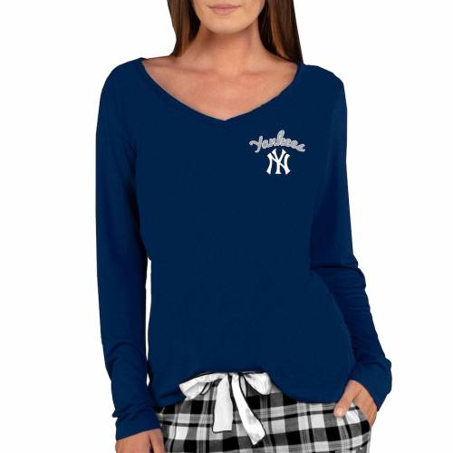 CONCEPTS SPORT ヤンキース レディース スリーブ ブイネック Tシャツ 紺 ネイビー レディースファッション トップス カットソー 【 New York Yankees Womens Marathon Long Sleeve V-neck T-shirt - Navy 】 Navy