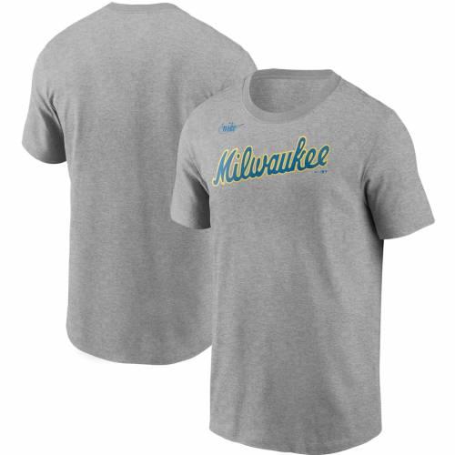 ナイキ NIKE ミルウォーキー ブルワーズ クーパーズタウン コレクション Tシャツ 灰色 グレー グレイ メンズファッション トップス カットソー メンズ 【 Milwaukee Brewers Cooperstown Collection W