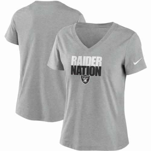 ナイキ NIKE レイダース レディース インパクト ブイネック Tシャツ チャコール レディースファッション トップス カットソー 【 Las Vegas Raiders Womens Local Impact Tri-blend V-neck T-shirt - Heathered