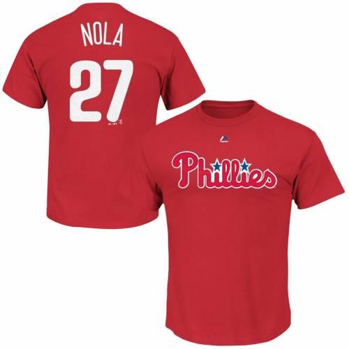 マジェスティック MAJESTIC フィラデルフィア フィリーズ Tシャツ 赤 レッド メンズファッション トップス カットソー メンズ 【 Aaron Nola Philadelphia Phillies Official Name And Number T-shirt - Red 】 R