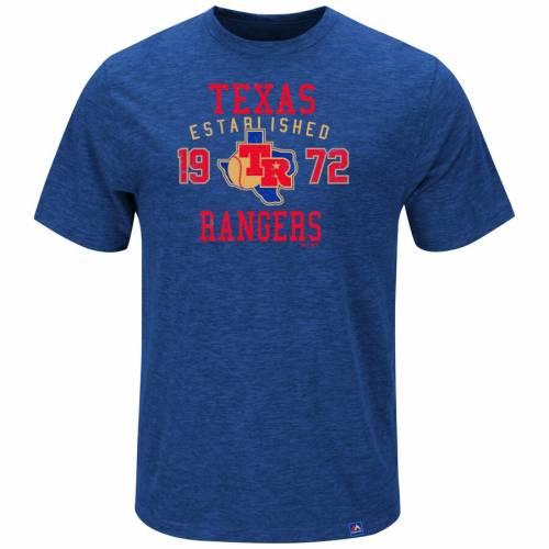 マジェスティック MAJESTIC テキサス レンジャーズ クーパーズタウン Tシャツ メンズファッション トップス カットソー メンズ 【 Texas Rangers Cooperstown Heads Or Tails T-shirt - Royal 】 Royal